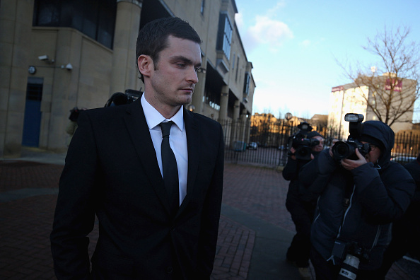 BRADFORD, ENGLAND - FEBRUARY 10:  Adam Johnson leaving Crown Court after admitting two charges against him and pleading not guilty to two others on February 10, 2016 in Bradford, England. The Sunderland FC midfielder, aged 28 and from Castle Eden, County Durham, will go on trial for two counts of sexual activity having pleaded guilty to two others. He has one daughter.  (Photo by Nigel Roddis/Getty Images)