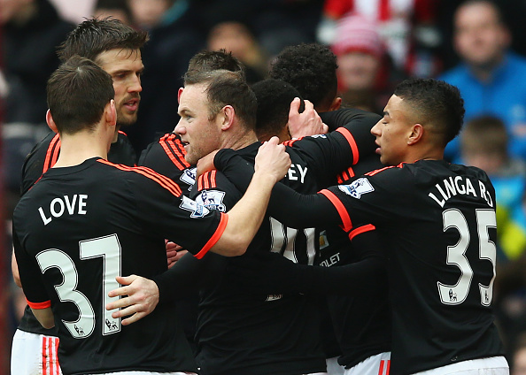 SUNDERLAND, ENGLAND - FEBRUARY 13: Anthony Martial (C, obscured) of Manchester United celebrates scoring his team's first goal with his team mates during the Barclays Premier League match between Sunderland and Manchester United at the Stadium of Light on February 13, 2016 in Sunderland, England.  (Photo by Clive Brunskill/Getty Images)