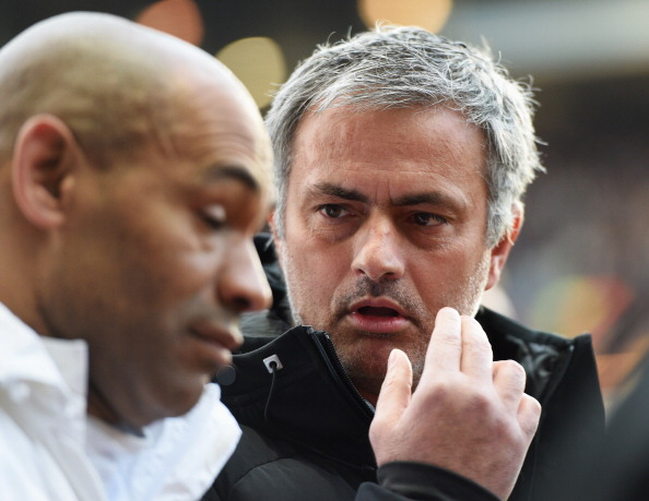 BIRMINGHAM, ENGLAND - MARCH 15:  Jose Mourinho manager of Chelsea and coach Jose Morais in discussion prior to the Barclays Premier League match between Aston Villa and Chelsea at Villa Park on March 15, 2014 in Birmingham, England.  (Photo by Michael Regan/Getty Images)