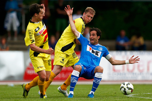 of KAA Gent in action during the pre season friendly match between KSV Oudenaarde and KAA Gent held at Burgemeester Thienpontstadion on June 26, 2015 in Oudenaarde, Belgium.