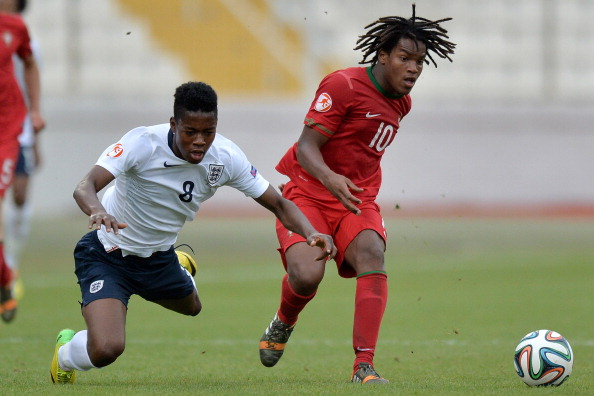 ATTARD, MALTA - MAY 18:  (L-R) Joshua Onomah of England is brought down by Renato Sanches of Portugal during the UEFA Under17 European Championship 2014 semi final match between Portugal and England at Ta' Qali National Stadium on May 18, 2014 in Attard, Malta.  (Photo by Sascha Steinbach/Bongarts/Getty Images)
