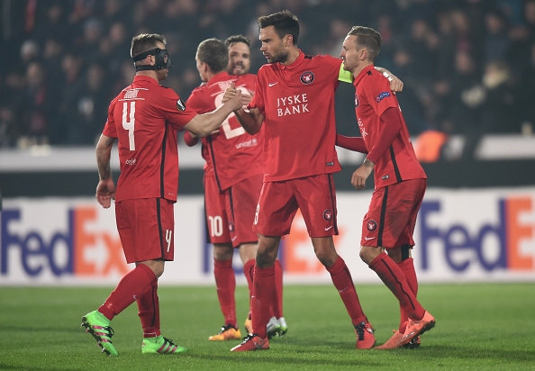 during the UEFA Europa League round of 32 first leg match between FC Midtjylland and Manchester United at Herning MCH Multi Arena on February 18, 2016 in Herning, Denmark.