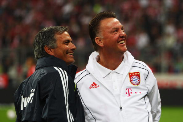 MUNICH, GERMANY - AUGUST 13:  Louis van Gaal of Bayern Muenchen and Jose Mourinho of Real Madrid smile prior to the Franz Beckenbauer Farewell match between FC Bayern Muenchen and Real Madrid at Allianz Arena on August 13, 2010 in Munich, Germany.  (Photo by Sandra Behne/Bongarts/Getty Images)