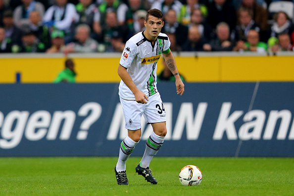 MOENCHENGLADBACH, GERMANY - NOVEMBER 07:  Granit Xhaka of Moenchengladbach runs with the ball during the Bundesliga match between Borussia Moenchengladbach and FC Ingolstadt at Borussia-Park on November 7, 2015 in Moenchengladbach, Germany.  (Photo by Christof Koepsel/Bongarts/Getty Images)