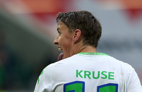 WOLFSBURG, GERMANY - OCTOBER 17:  Max Kruse of Wolfsburg celebrates after scoring his teams third goal during the Bundesliga match between VfL Wolfsburg and 1899 Hoffenheim at Volkswagen Arena on October 17, 2015 in Wolfsburg, Germany.  (Photo by Ronny Hartmann/Bongarts/Getty Images)