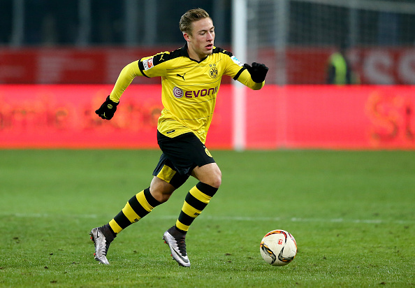 ESSEN, GERMANY - JANUARY 19:  Felix Passlack of Dortmund runs with the ball during the friendly match between Borussia Dortmund and Sparta Prague at at Stadium Essen on January 19, 2016 in Essen, Germany.  (Photo by Martin Rose/Bongarts/Getty Images)