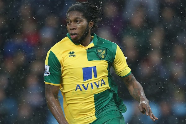 BIRMINGHAM, ENGLAND - FEBRUARY 06:  Dieumerci Mbokani of Norwich City in action during the Barclays Premier League match between Aston Villa and Norwich City at Villa Park on February 6, 2016 in Birmingham, England.  (Photo by Mark Thompson/Getty Images)