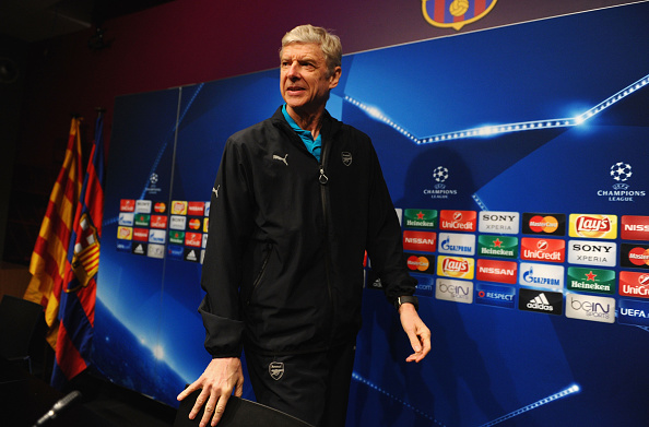 BARCELONA, SPAIN - MARCH 15:  Arsene Wenger manager of Arsenal looks on during an Arsenal press conference ahead of their UEFA Champions League round of 16 second leg match against Barcelona at Camp Nou on March 15, 2016 in Barcelona, Spain.  (Photo by David Ramos/Getty Images)