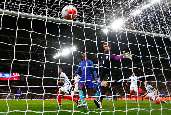 LONDON, ENGLAND - MARCH 29: Luciano Narsingh of the Netherlands (not pictured) scores his sides winning goal past Fraser Forster of England during the International Friendly match between England and Netherlands at Wembley Stadium on March 29, 2016 in London, England.  (Photo by Julian Finney/Getty Images)