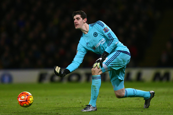 WATFORD, ENGLAND - FEBRUARY 03:  Thibaut Courtois of Chelsea in action during the Barclays Premier League match between Watford and Chelsea at Vicarage Road on February 3, 2016 in Watford, England.  (Photo by Clive Mason/Getty Images)