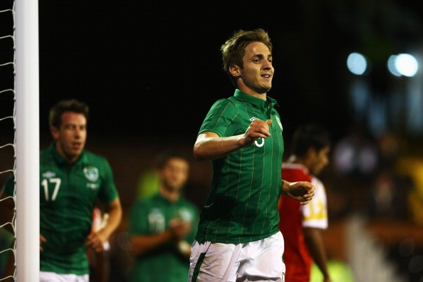 LONDON, ENGLAND - SEPTEMBER 11:  Kevin Doyle of Republic of Ireland celebrates scoring the third goal for Ireland during the International Friendly match between Republic of Ireland and Oman at Craven Cottage on September 11, 2012 in London, England.  (Photo by Paul Gilham/Getty Images)