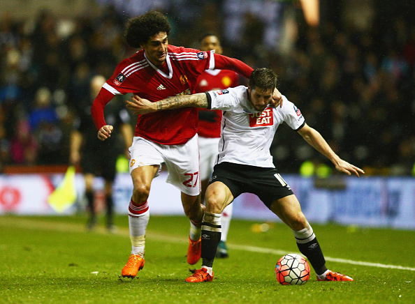 during the Emirates FA Cup fourth round match between Derby County and Manchester United at iPro Stadium on January 29, 2016 in Derby, England.
