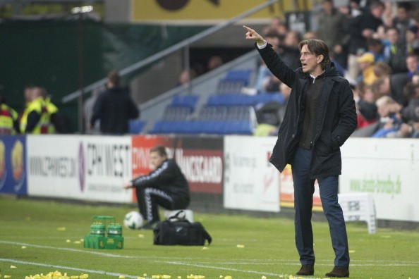 BRONDBY,DENMARK - MAY 8:  Head Coach Thomas Frank of Brondby IF looks on during the Danish Superliga match between Brondby IF and FC Midtjylland at the Brondby Stadium on May 08, 2014 in Brondby,Denmark. (Photo by Sara Strandlund/EuroFootball/Getty Images)
