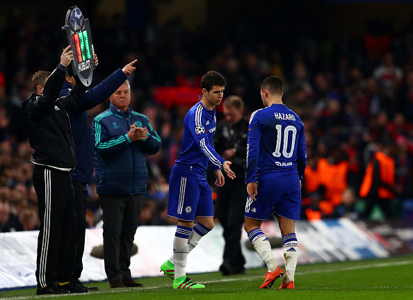 LONDON, ENGLAND - MARCH 09:  Oscar of Chelsea comes on as a second half substitute for Eden Hazard of Chelsea during the UEFA Champions League round of 16, second leg match between Chelsea and Paris Saint Germain at Stamford Bridge on March 9, 2016 in London, United Kingdom.  (Photo by Clive Rose/Getty Images)