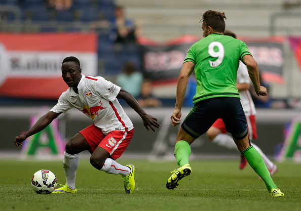 xxx of Salzburg and xxx of Southampton fight for the ball during the pre-season match for the 3rd place between FC Red Bull Salzburg and Southampton FCas part of the Audi Quattro Cup 2015 at Red Bull Arena on July 11, 2015 in Salzburg, Austria.