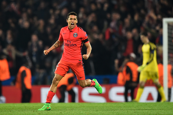 LONDON, ENGLAND - MARCH 11:  Marquinhos of PSG celebrates following his team's victory during the UEFA Champions League Round of 16, second leg match between Chelsea and Paris Saint-Germain at Stamford Bridge on March 11, 2015 in London, England.  (Photo by Mike Hewitt/Getty Images)