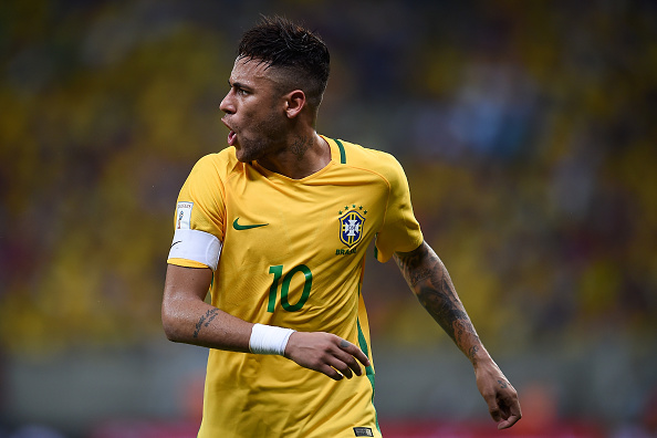 RECIFE, BRAZIL - MARCH 25:  Neymar of Brazil reacts  during a match between Brazil and Uruguay as part of 2018 FIFA World Cup Russia Qualifiers at Arena Pernanbuco on March 25, 2016 in Recife, Brazil.  (Photo by Buda Mendes/Getty Images)