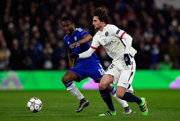LONDON, ENGLAND - MARCH 09:  Adrien Rabiot of PSG is closed down by John Mikel Obi of Chelsea during the UEFA Champions League round of 16, second leg match between Chelsea and Paris Saint Germain at Stamford Bridge on March 9, 2016 in London, United Kingdom.  (Photo by Mike Hewitt/Getty Images)