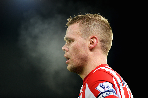 STOKE ON TRENT, ENGLAND - JANUARY 17:  Ryan Shawcross of Stoke City looks on during the Barclays Premier League match between Stoke City and Arsenal at Britannia Stadium on January 17, 2016 in Stoke on Trent, England.  (Photo by Gareth Copley/Getty Images)