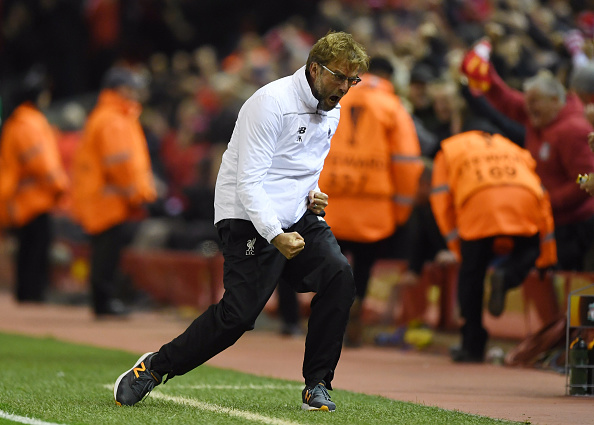 LIVERPOOL, ENGLAND - APRIL 14:  Jurgen Klopp, manager of Liverpool celebrates during the UEFA Europa League quarter final, second leg match between Liverpool and Borussia Dortmund at Anfield on April 14, 2016 in Liverpool, United Kingdom.  (Photo by Shaun Botterill/Getty Images)