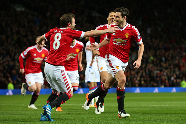 MANCHESTER, ENGLAND - APRIL 20:  Matteo Darmian of Manchester United celebrates with team mates after scoring his sides second goal during the Barclays Premier League match between Manchester United and Crystal Palace at Old Trafford on April 20, 2016 in Manchester, England.  (Photo by Alex Livesey/Getty Images)