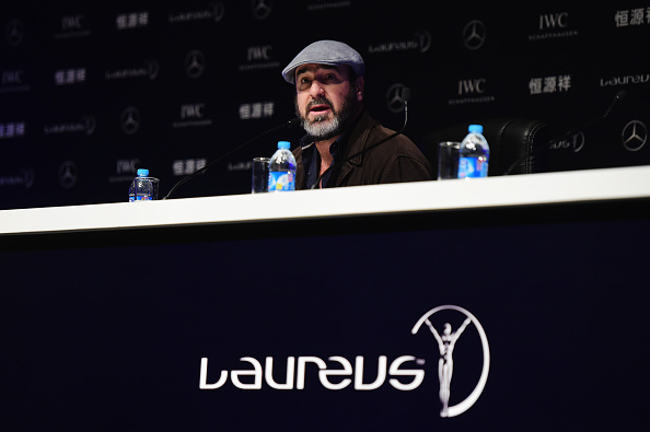 SHANGHAI, CHINA - APRIL 14:  Former Footballer Eric Cantona of France speaks during a press conference at the Shanghai Grand Theatre prior to the  Laureus World Sports Awards  on April 14, 2015 in Shanghai, China.  (Photo by Jamie McDonald/Getty Images for Laureus)