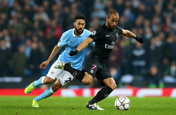 MANCHESTER, UNITED KINGDOM - APRIL 12:  Gael Clichy of Manchester City watches Lucas Moura of Paris Saint-Germain during the UEFA Champions League quarter final second leg match between Manchester City FC and Paris Saint-Germain at the Etihad Stadium on April 12, 2016 in Manchester, United Kingdom.  (Photo by Alex Livesey/Getty Images)