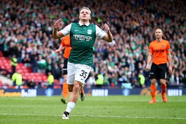 during the Scottish Cup Semi Final between Hibernian and Dundee United at Hampden Park on April 16, 2016 in Glasgow, Scotland. (Photo by Clive Rosel/Getty)