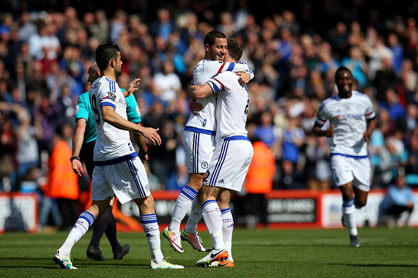 BOURNEMOUTH, ENGLAND - APRIL 23:  Eden Hazard of Chelsea celebrates with Branislav Ivanovic of Chelsea after scoring his sides second goal during the Barclays Premier League match between A.F.C. Bournemouth and Chelsea at the Vitality Stadium on April 23, 2016 in Bournemouth, United Kingdom.  (Photo by Steve Bardens/Getty Images)