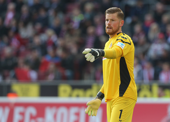 COLOGNE, GERMANY - APRIL 23:  Goalkeeper Timo Horn of Cologne gives instructions during the Bundesliga match between 1. FC Koeln and SV Darmstadt 98 at RheinEnergieStadion on April 23, 2016 in Cologne, Germany.  (Photo by Juergen Schwarz/Bongarts/Getty Images)