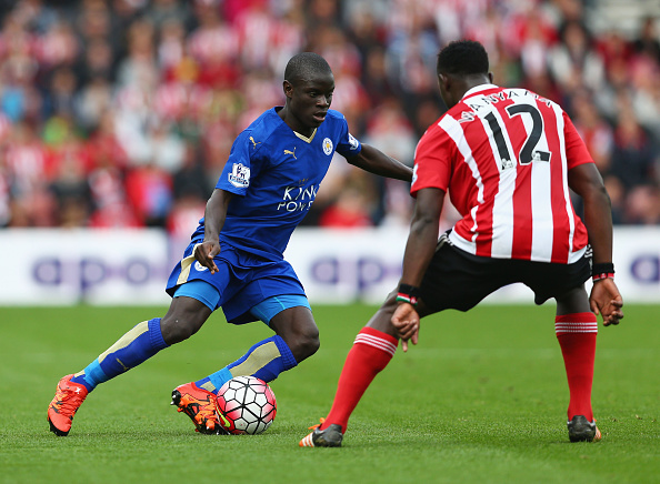 during the Barclays Premier League match between Southampton and Leicester City at St Mary's Stadium on October 17, 2015 in Southampton, England.