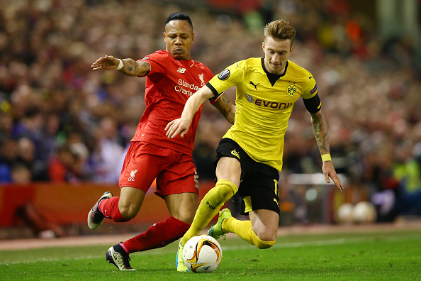 LIVERPOOL, ENGLAND - APRIL 14: during the UEFA Europa League quarter final, second leg match between Liverpool and Borussia Dortmund at Anfield on April 14, 2016 in Liverpool, United Kingdom. (Photo by Clive Brunskill/Getty Images)