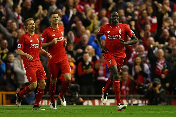 LIVERPOOL, ENGLAND - APRIL 20:  Mamadou Sakho of Liverpool celebrates scoring his sides second goal  during the Barclays Premier League match between Liverpool and Everton at Anfield, April 20, 2016, Liverpool, England  (Photo by Clive Brunskill/Getty Images)