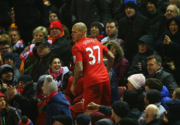 during the Barclays Premier League match between Liverpool and West Bromwich Albion at Anfield on December 13, 2015 in Liverpool, England.