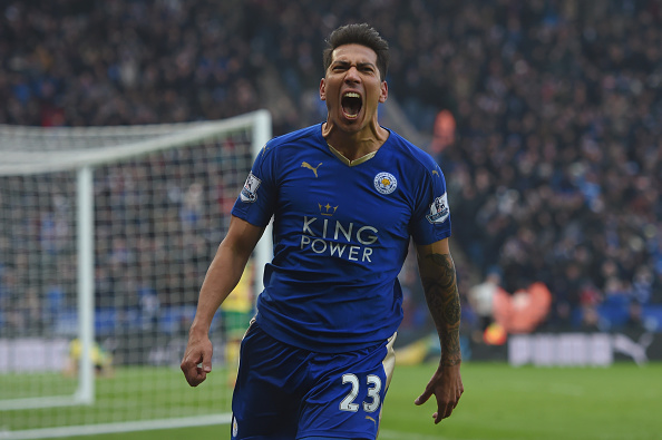 LEICESTER, ENGLAND - FEBRUARY 27:  Leonardo Ulloa of Leicester City celebrates scoring his team's first goal during the Barclays Premier League match between Leicester City and Norwich City at The King Power Stadium on February 27, 2016 in Leicester, England.  (Photo by Michael Regan/Getty Images)