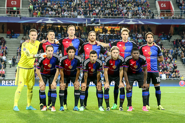 BASEL, SWITZERLAND - AUGUST 19:  Teammates of Basel pose prior to the UEFA Champions League qualifying round play off first leg match between FC Basel and Maccabi Tel Aviv at St. Jakob-Park on August 19, 2015 in Basel, Switzerland.  (Photo by Simon Hofmann/Getty Images)