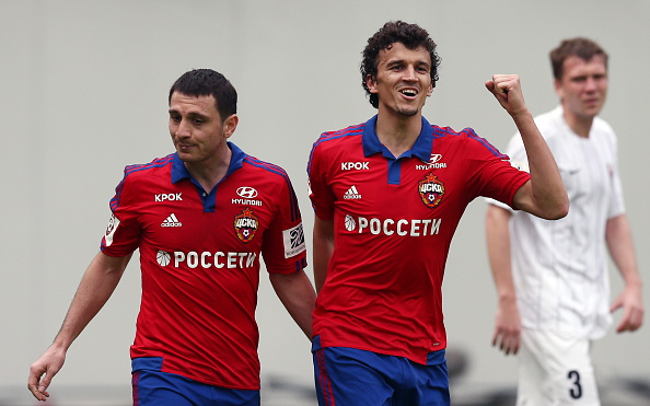 MOSCOW REGION, RUSSIA. APRIL 9, 2016. CSKA's Alan Dzagoev (L) and Roman Eremenko celebrate scoring in the 2015/2016 Russian Premier League Round 23 football match against Mordovia Saransk at Arena Khimki. Stanislav Krasilnikov/TASS (Photo by Stanislav KrasilnikovTASS via Getty Images)