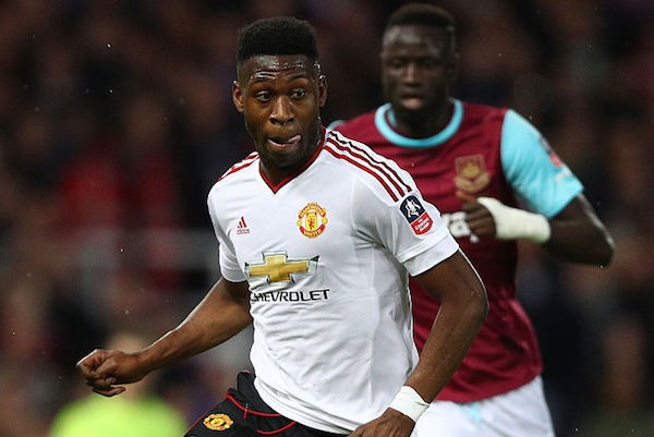 LONDON, ENGLAND - APRIL 13:  Timothy Fosu-Mensah of Manchester United in action during The Emirates FA Cup, sixth round replay between West Ham United and Manchester United at the Boleyn Ground on April 13, 2016 in London, England.  (Photo by Paul Gilham/Getty Images)