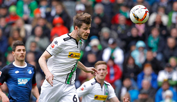 MOENCHENGLADBACH, GERMANY - APRIL 24:  Havard Nordveit of Moenchengladbach jumps for a header during the Bundesliga match between Borussia Moenchengladbach and TSG 1899 Hoffenheim on April 24, 2016 in Moenchengladbach, Germany. (Photo by Mika Volkmann/Bongarts/Getty Images)