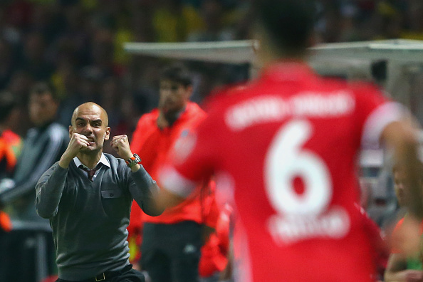 BERLIN, GERMANY - MAY 21:  Head coach of Bayern Muenchen Josep Guardiola reacts during the DFB Cup Final 2016 between Bayern Muenchen and Borussia Dortmund at Olympiastadion on May 21, 2016 in Berlin, Germany.  (Photo by Alexander Hassenstein/Bongarts/Getty Images)