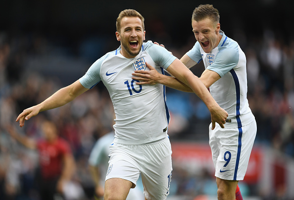 MANCHESTER, ENGLAND - MAY 22:  Harry Kane of England celebrates with Jamie Vardy of England after he scored the opening goal during the International Friendly match between England and Turkey at Etihad Stadium on May 22, 2016 in Manchester, England.  (Photo by Laurence Griffiths/Getty Images)