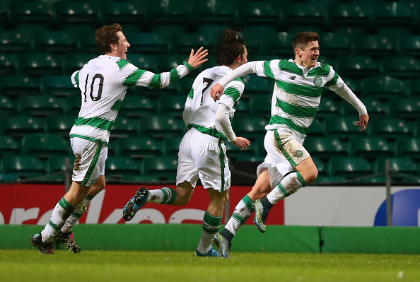 GLASGOW, SCOTLAND - FEBRUARY 10:  Jack Aitchison of Celtic celebrates scoring during the UEFA Youth Champions League match between Celtic and Valencia at Celtic Park on February 10, 2016 in Glasgow, Scotland. (Photo by Ian MacNicol/Getty images)