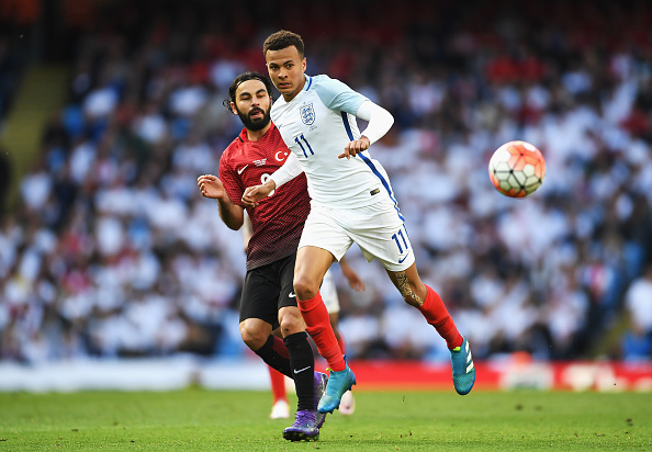 MANCHESTER, ENGLAND - MAY 22:  Dele Alli of England battles for the ball with Selcuk Inan of Turkey  during the International Friendly match between England and Turkey at Etihad Stadium on May 22, 2016 in Manchester, England.  (Photo by Laurence Griffiths/Getty Images)