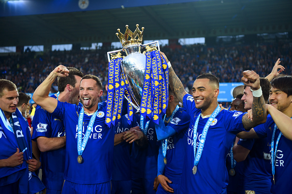 LEICESTER, ENGLAND - MAY 07:  Danny Drinkwater and Danny Simpson of Leicester City pose with the Premier League Trophy after the Barclays Premier League match between Leicester City and Everton at The King Power Stadium on May 7, 2016 in Leicester, United Kingdom.  (Photo by Shaun Botterill/Getty Images)