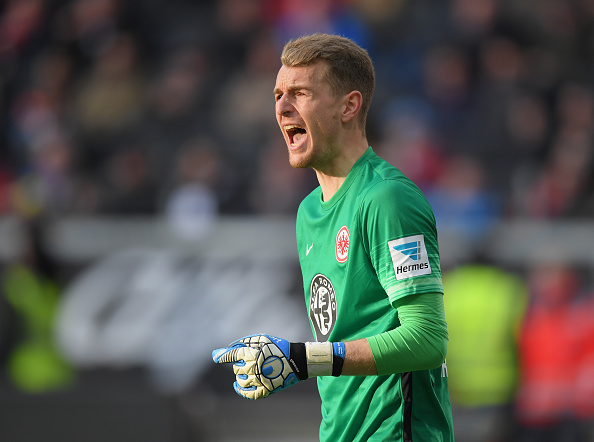 FRANKFURT AM MAIN, GERMANY - APRIL 24:  Goalkeeper Lukas Hradecky of Frankfurt gestures during the Bundesliga match between Eintracht Frankfurt and 1. FSV Mainz 05 at Commerzbank-Arena on April 24, 2016 in Frankfurt am Main, Germany.  (Photo by Matthias Hangst/Bongarts/Getty Images)