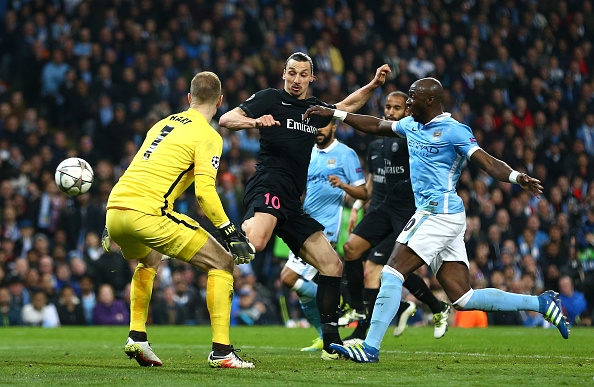 during the UEFA Champions League quarter final second leg match between Manchester City FC and Paris Saint-Germain at the Etihad Stadium on April 12, 2016 in Manchester, United Kingdom.