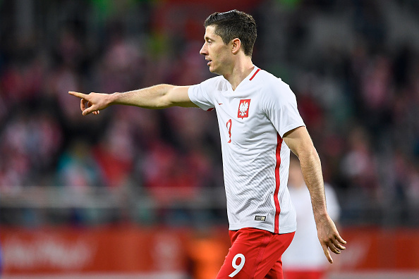 WROCLAW, POLAND - MARCH 26: Robert Lewandowski of Poland gestures during the international friendly soccer match between Poland and Finland at the Municipal Stadium on March 26, 2016 in Wroclaw, Poland. (Photo by Adam Nurkiewicz/Getty Images)