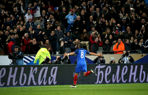 SAINT-DENIS, FRANCE. MARCH 29, 2016. France's Dimitri Payet celebrates scoring in a friendly football match against Russia at the Stade de France. The French team won the game 4:2. Alexander Demianchuk/TASS (Photo by Alexander DemianchukTASS via Getty Images)
