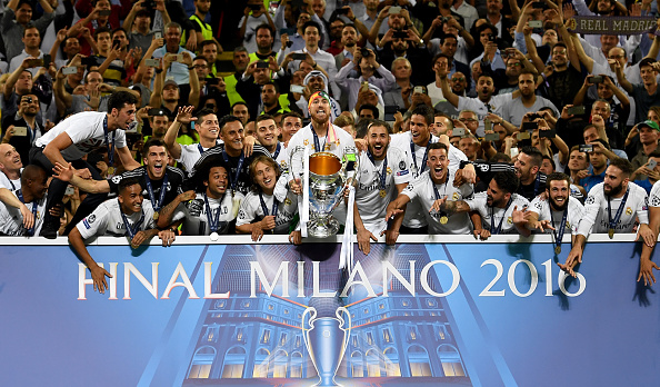 MILAN, ITALY - MAY 28: Sergio Ramos of Real Madrid lifts the Champions League trophy after the UEFA Champions League Final match between Real Madrid and Club Atletico de Madrid at Stadio Giuseppe Meazza on May 28, 2016 in Milan, Italy.  (Photo by Shaun Botterill/Getty Images)