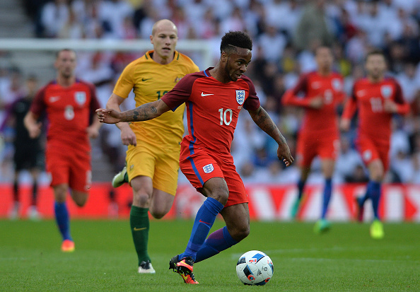 SUNDERLAND, ENGLAND - MAY 27: Raheem Sterling of England takes on the Australian defence during the International Friendly match between England and Australia at Stadium of Light on May 27, 2016 in Sunderland, England. (Photo by Mark Runnacles/Getty Images)